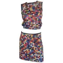 Todd Oldham iconic rubik's cube geometric print skirt and crop top ensemble