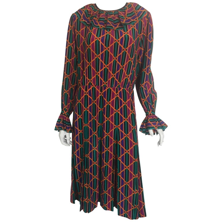 Yves Saint Laurent colorful ruffle collar and sleeve silk dress