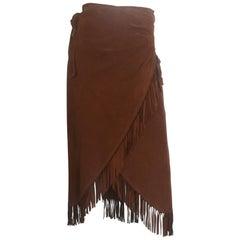 Suede fringe wrap skirt