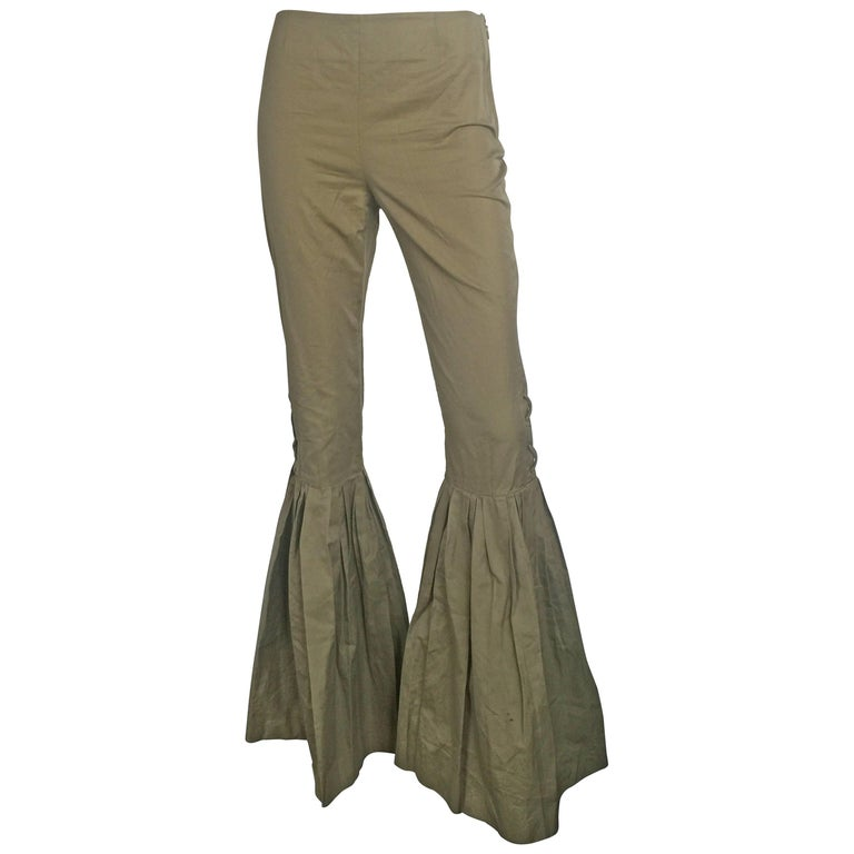 Safari green high waisted pleated bell bottom pants