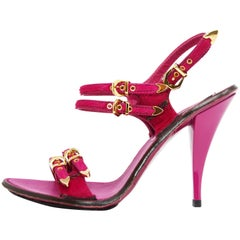 Louis Vuitton Fuchsia Sandal Heel with Alligator Embossed Sole, Size 38