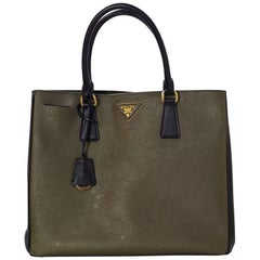 Prada Black and Green Militaire Saffiano Leather Tote Bag