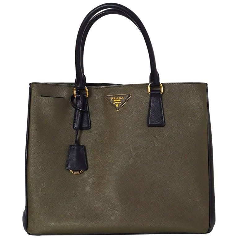 Prada Black and Green Militaire Saffiano Leather Tote Bag