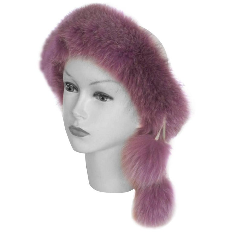 vintage fox fur pom pom head band