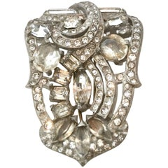 "Eisenberg Original Silver and Austrian Crystal Art Deco ""Fur"" Clip"