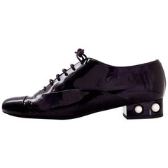 Chanel Burgundy Patent & Pearl CC Oxford Shoes Sz 41  with DB