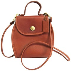 Coach Vintage Classic Cognac Leather Top Handle Satchel Crossbody Flap Bag