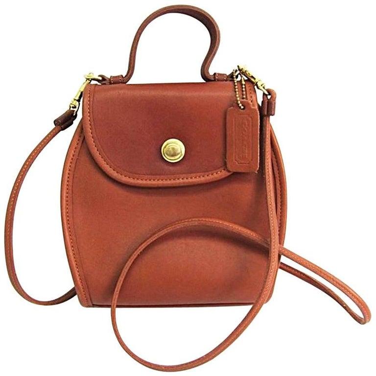 Coach Vintage Classic Cognac Leather Top Handle Satchel Crossbody Flap Bag