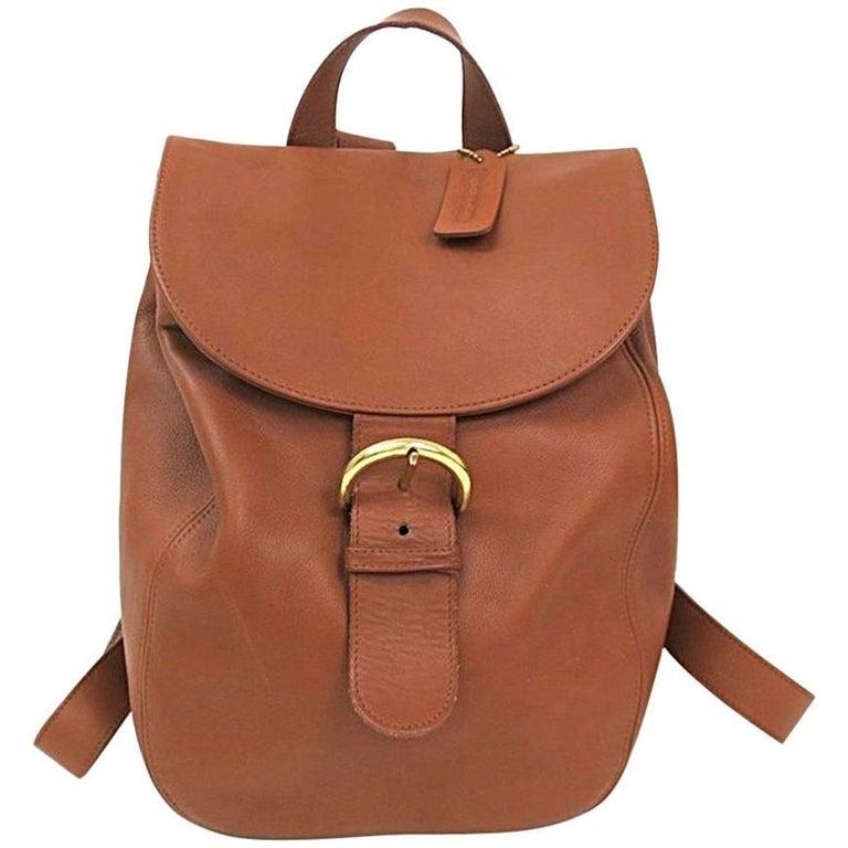 Coach Vintage Archive Cognac Leather Top Handle Satchel Backpack Flap Bag