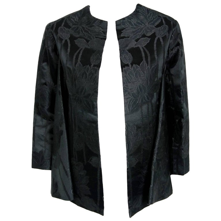 1953 Christian Dior Haute-Couture Black Floral Silk Brocade Winged Swing Jacket