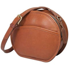 Coach Vintage Archive Cognac Leather Round Crossbody Shoulder Bag