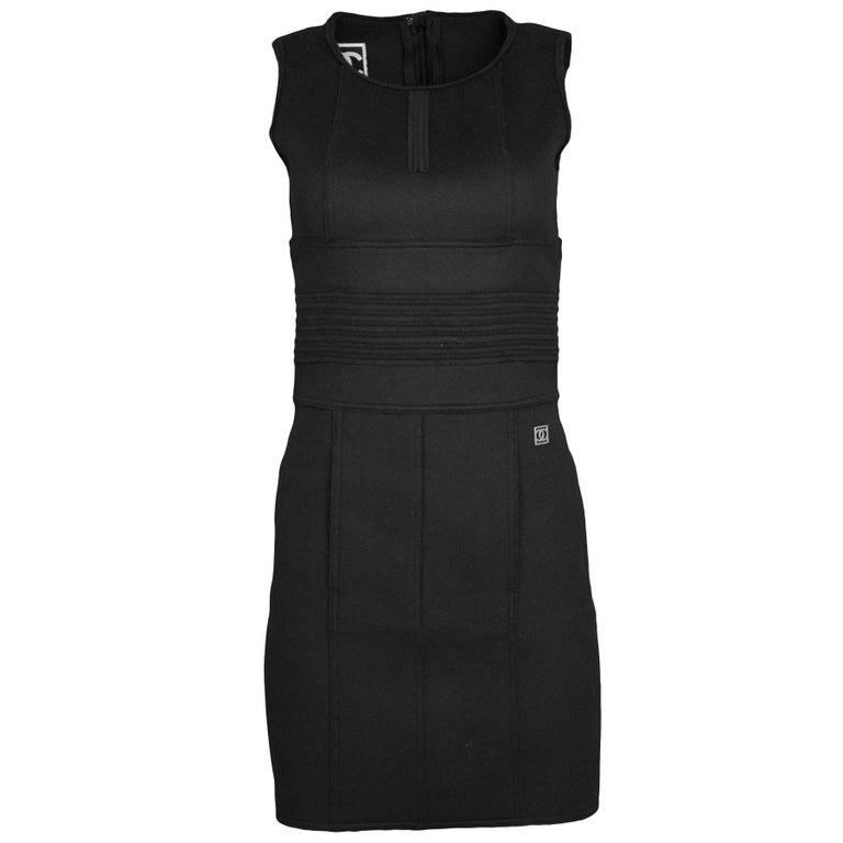 Chanel Sport Black Wool Sleeveless Dress Sz FR34
