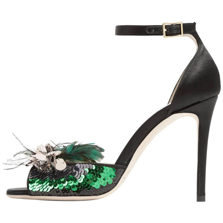 Jimmy Choo New Black Green Ostrich Sequin Evening Sandals Heels in Box