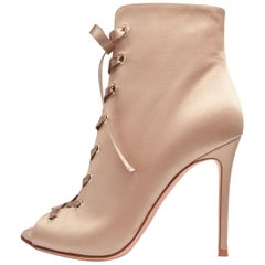 Gianvito Rossi New Champagne Gold Tie Evening Ankle Boots Booties in Box