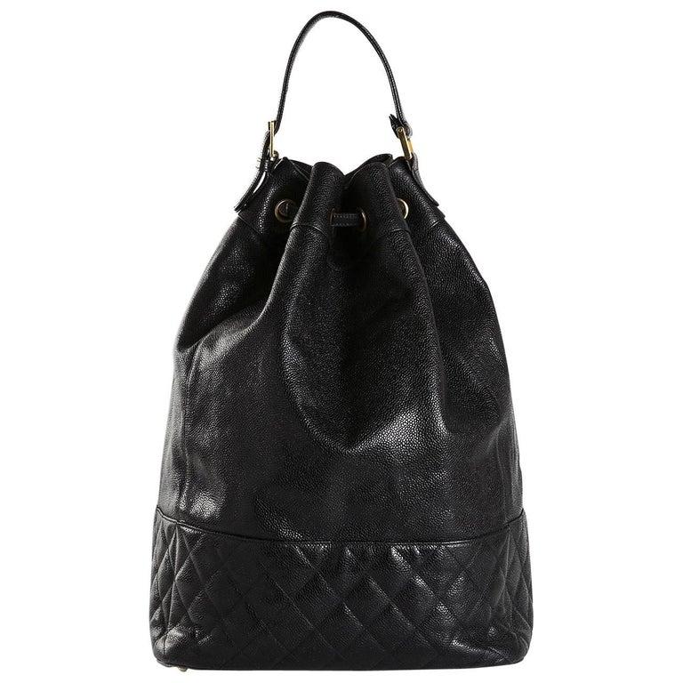 efdc77731990 Chanel Black Leather Large Carryall Bucket Travel Top Handle Backpack Bag  For Sale
