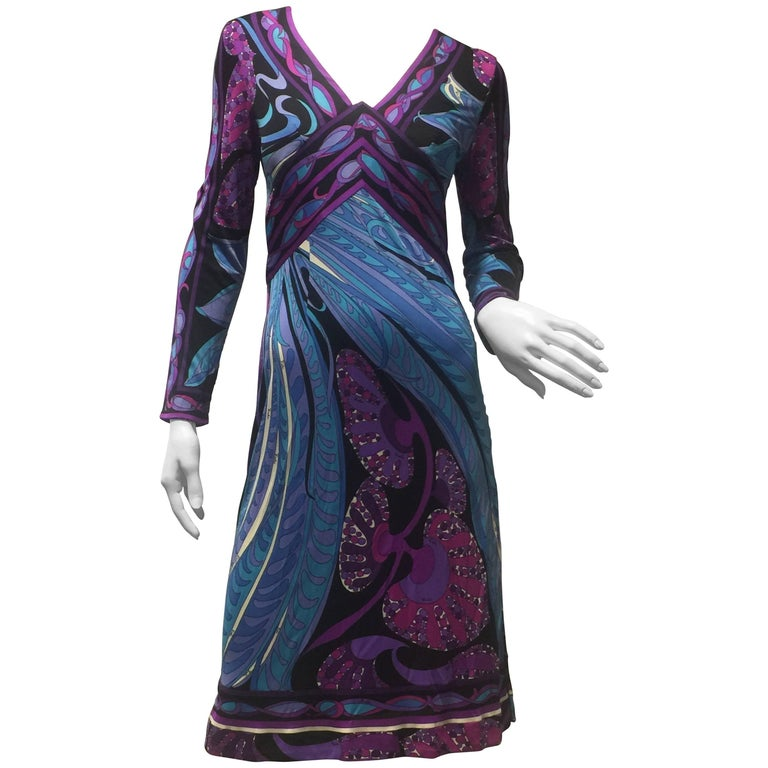 1960s Emilio Pucci Purple Print Silk Jersey Dress W/ Banded Empire Waist and Hem For Sale