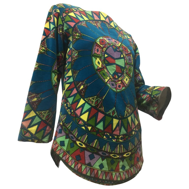 "1963 Emilio Pucci Velvet ""Vetrate"" Motif Print Apres-Ski Vest  For Sale"