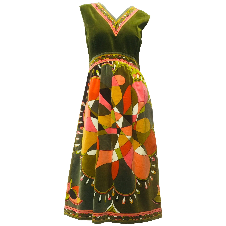 1960s Emilio Pucci Print Cotton Velvet Baby Doll Dress In Olive & Orange Tones
