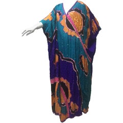 1980s Judith Ann Creations Hand-Painted & Sequined Brightly Colored Silk Kaftan