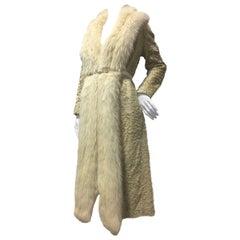 1970s Blonde Broadtail Fur Coat W/ Lush Fox Collar & Snake Belt