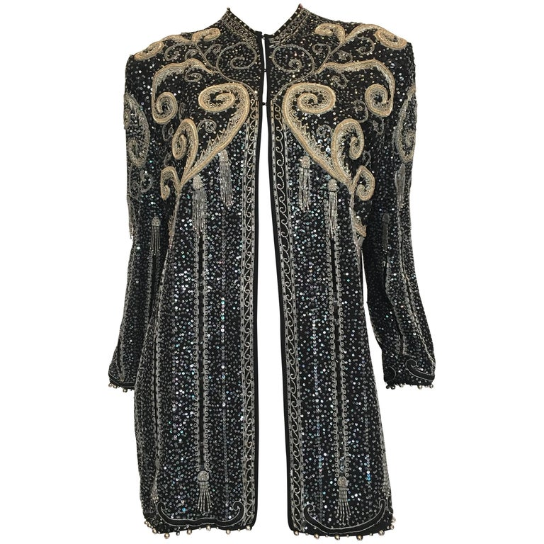 Zandra Rhodes 1980's Beaded and Sequined Jacket