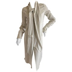 Maison Martin Margiela Vintage Stripe Silk Shirt Dress with Attached Scarf