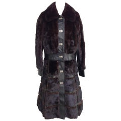 70'S MOD Gucci Style Mink Fur & Leather Convertible Coat