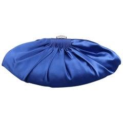 CHANEL Handbag Blue Silk Satin Crystal CC Evening Clutch Handbag - Retail $2,150