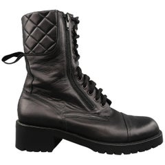 CHANEL Size 10 Quilted Black Leather Zip Lace Up Military Combat Boots
