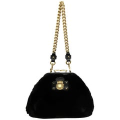 Marc Jacobs Black Mink Fur Gold Kiss Lock Chain Purse Handbag