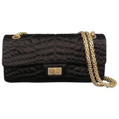 Chanel Black Alligator Quilted Silk Gold Chain Reissue Shoulder Handbag