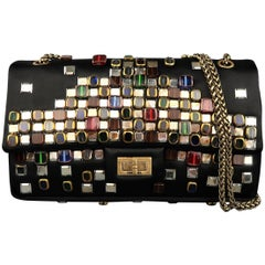 Chanel Black Byzantine Reissue Studded Silk Shoulder Handbag