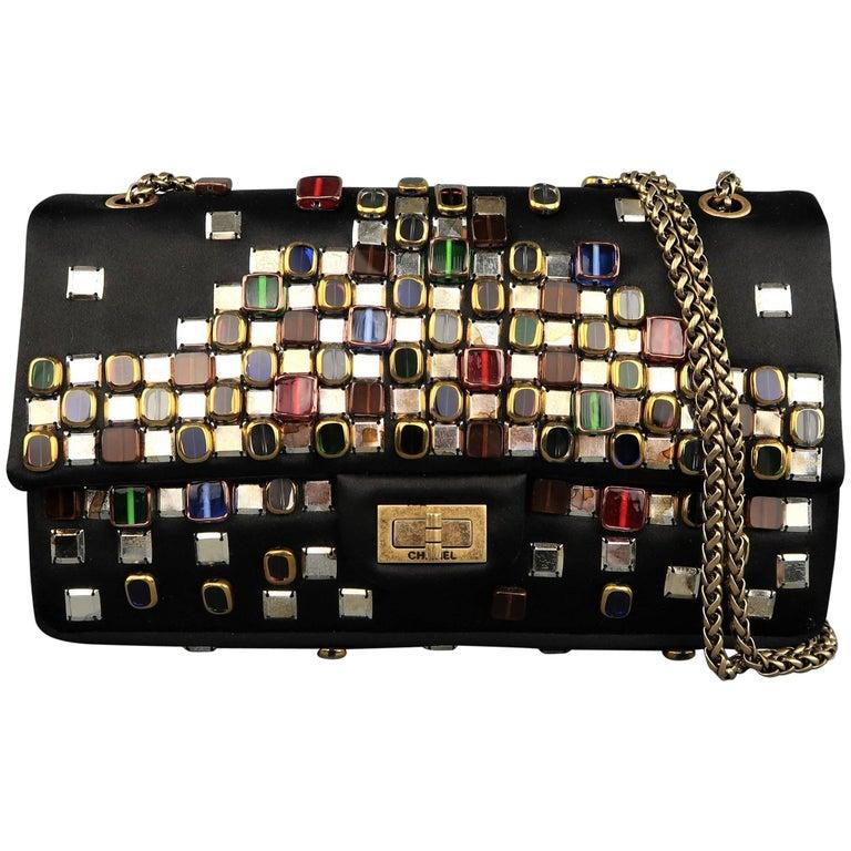 Chanel Black Byzantine Reissue Studded Silk Shoulder Handbag