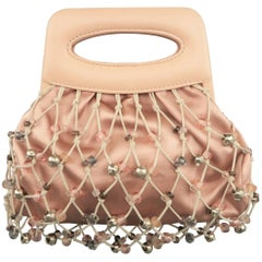 Chanel Salmon Pink Silk and Leather Beaded Mesh Mini Handbag