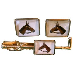 1950s Glass Equine Tie Bar & Cuff Links Set