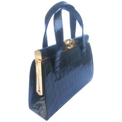 Sleek Ebony Alligator Vintage Handbag c 1950s