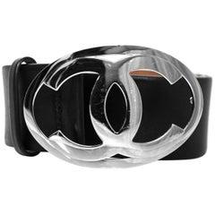 Chanel Black Leather CC Logo Belt Sz 80