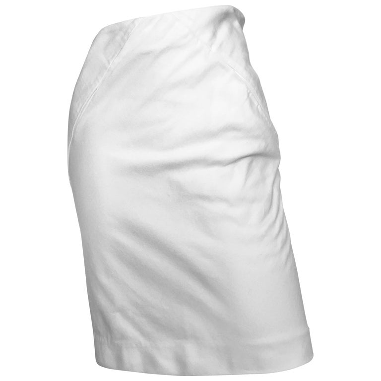 faceef43a014 Balenciaga White Denim Pencil Skirt Size 4. Made in Italy. For Sale ...