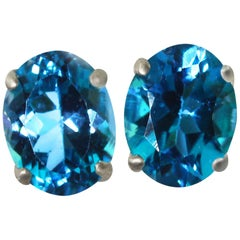 4.52 Carats of matching Brilliant Blue Topaz Sterling Silver Stud Earrings