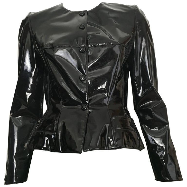 Thierry Mugler Black Rubber Snap Jacket Size 4.