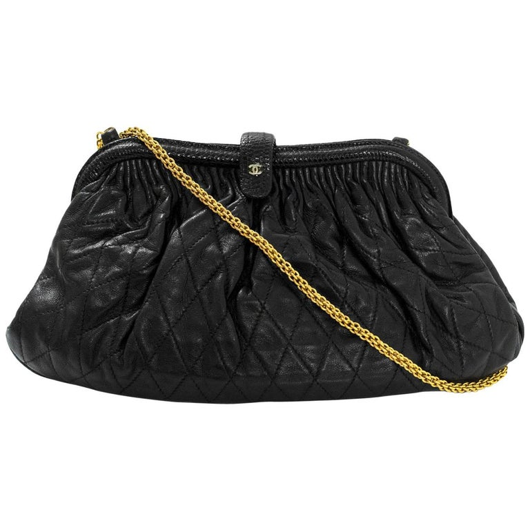 Chanel Vintage Black Leather & Lizard Quilted Clutch/Crossbody Bag
