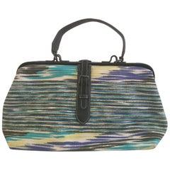 Missoni Canvas Doctor Handbag with Leather Trim.