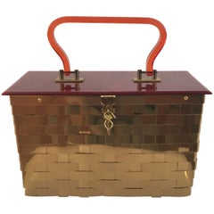 Dorset Rex of Fifth Avenue Gold Metal Basket Handbag.