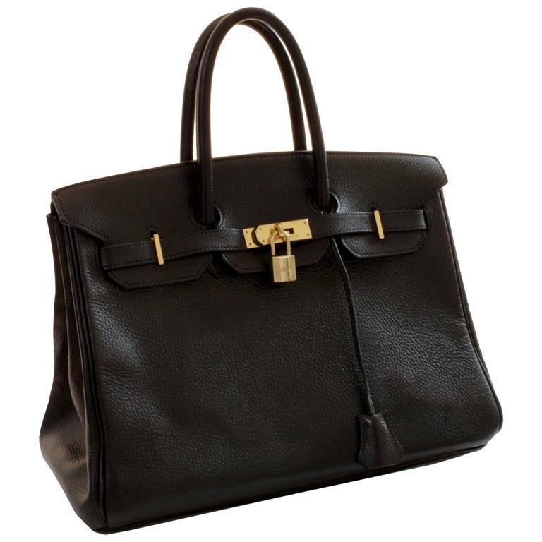 Hermes Birkin 35cm Tote Bag Black Noir Ardennes Leather 90s Vintage