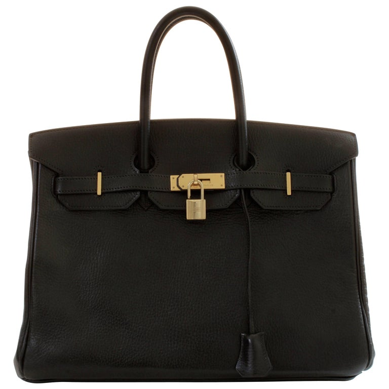 Hermes Black Noir Ardennes Leather Vintage Birkin 35cm Tote Bag, 1990s