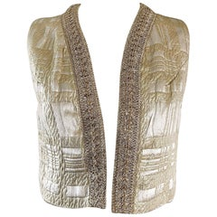 Saks 5th Avenue Vintage Gold Silk Brocade Metallic Crop Vest, 1960s