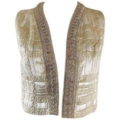 Saks 5th Avenue Vintage Gold Silk Brocade Metallic Crop Vest, 1960s