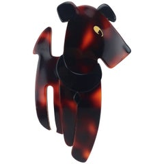 Vintage Lea Stein 'Ric the Dog' Layered Plastic Brooch