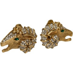 1960's Kenneth Jay Lane Gold Rhinestone Ram Clip Earrings