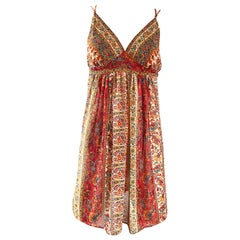 1990s Oscar de la Renta Boho Empire Waist Vintage Empire Waist Babydoll Dress